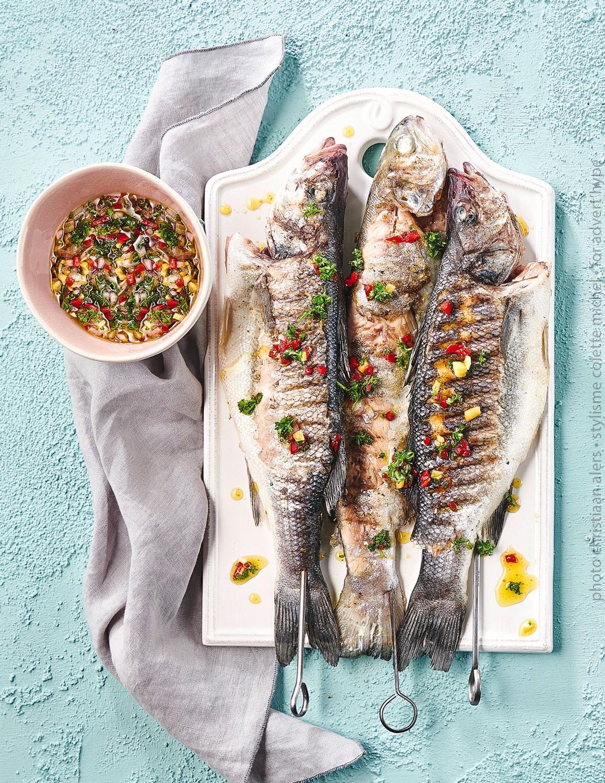 stylisme food, photo de poissons grillés